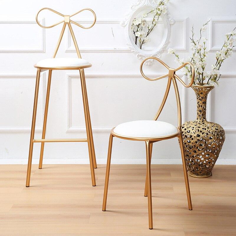 كرسي ذهبي على الطراز الاسكندنافي ، كرسي على شكل فراشة ، مع فيونكة حديدية ، للمكتب في الهواء الطلق ، كرسي صالة إبداعي ، ديكور منزلي ذهبي