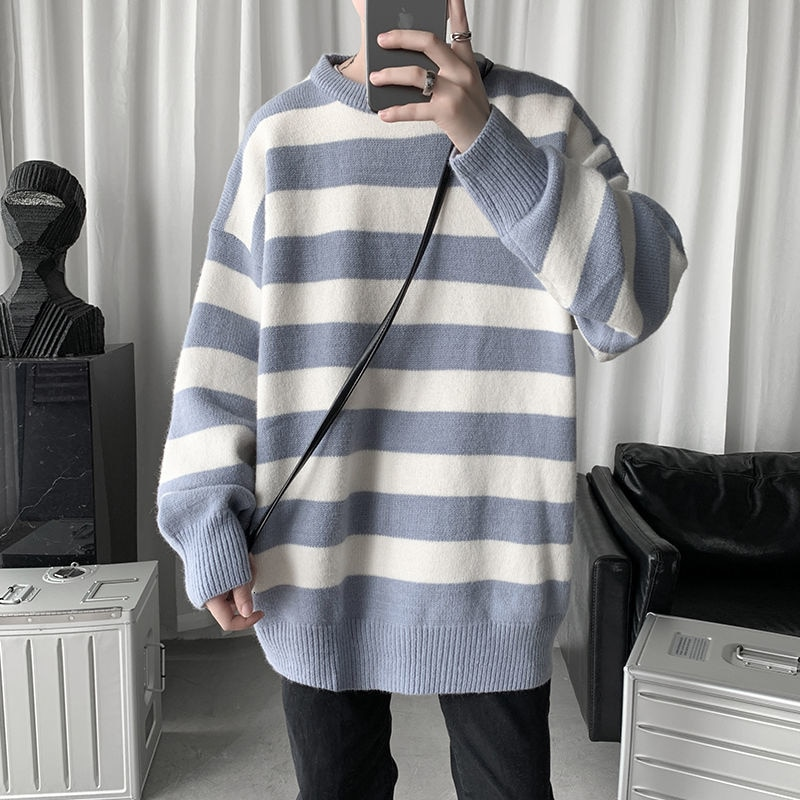 Privathinker 2021 الرجال الشتاء سترة Harajuku موضة مخطط سويتر المعتاد البلوز الدافئة محبوك سترة ملابس للرجال