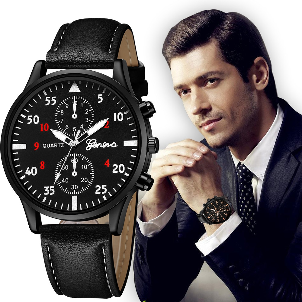 Fashion Men's Leather Military Alloy Analog Quartz Wrist Watch Business Watches Stainless Steel Quar