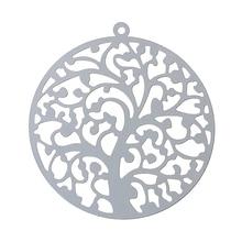 Doreenperles filigrane acier inoxydable pendentifs à breloque rond couleur argent arbre sculpté creux 43mm (1 6/8