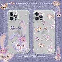 Cute Cartoon Rabbit Phone Case for iPhone 12 Pro Max Mini 11 X XS XR 7 8 Plus SE2020 Clear Cover Fun