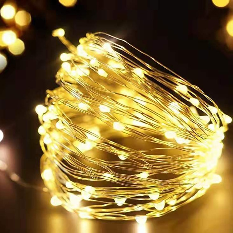 10m 5m led string lights silver wire fairy warm white garland home christmas wedding holiday party decoration powered by battery LED String Lights Silver Wire Garland Powered by 5V Battery USB Fairy light Home Christmas Wedding Party Decoration