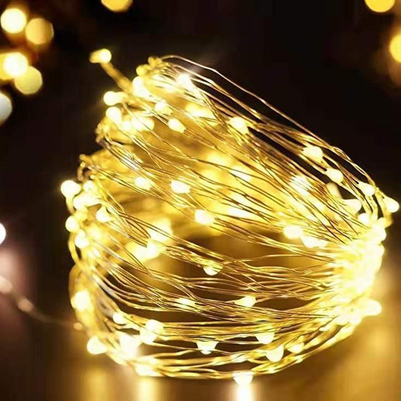 Cadena de luces LED guirnalda con alambre plateado alimentado por batería de 5V Luz de hadas USB Decoración Para fiesta de boda