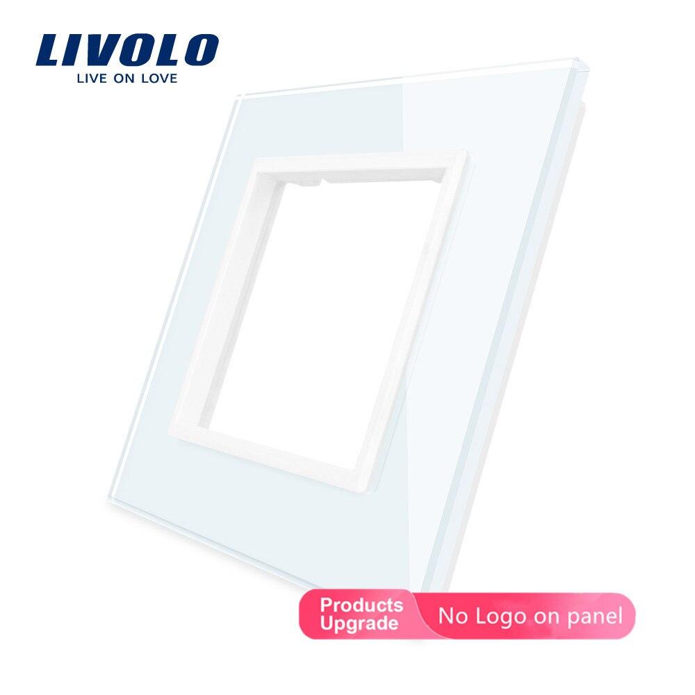 Cristal de perla negra de lujo Livolo, 80mm * 80mm, pieza de interruptor DIY estándar de la UE, Panel de vidrio único, VL-C7-SR-12