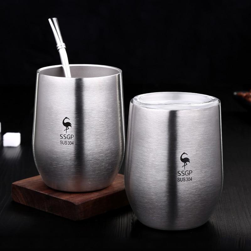 Juego de 2 tazas de café de acero inoxidable resistentes al calor, taza aislante de doble pared sin tallo con tapa para vaso de zumo de bebida