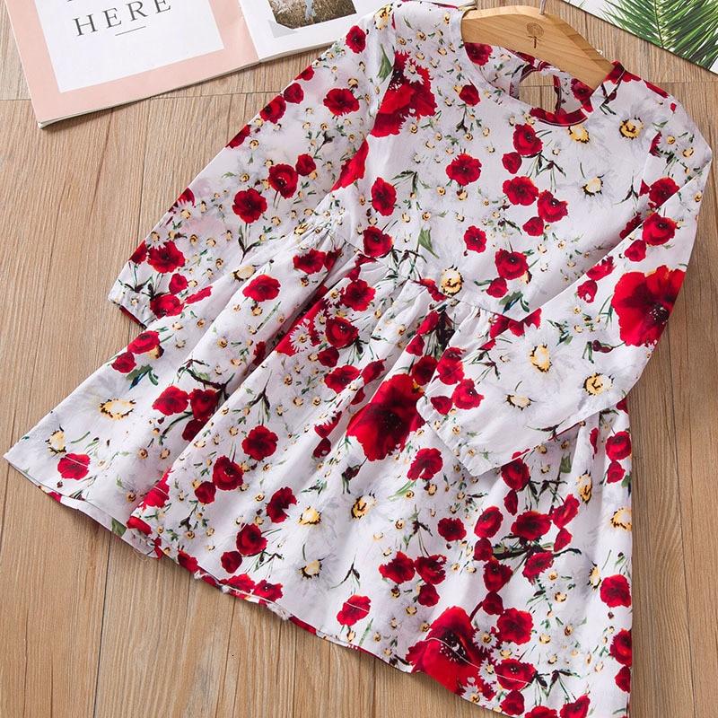 Vestido nuevo para niñas, primavera y otoño, vestido con patrón de rosa, vestido de fiesta de manga larga, vestido de princesa, vestido de Navidad para niños