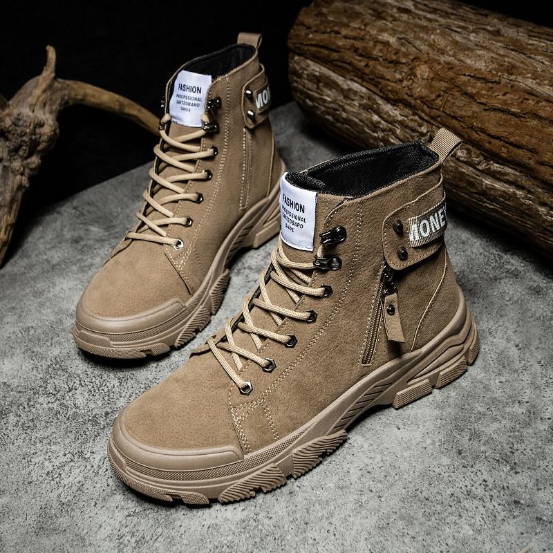 Botas de Tornozelo para Zapatos Inverno em Casa Zapatillas Casual Hombre Homens Botas Casuais Cowboy Chelsea Couro Preto