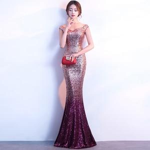 Evening Dresses New Boat Neck Gradient Sequins Zipper Back Simple Mermaid Floor-length Plus size Women Formal Party Dress R1218