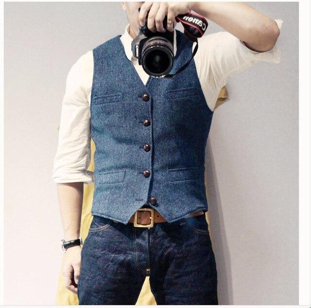 Men's Suit Vest Blue Single Breasted Woolen Blended Mens Vest Denim Jeans Waistcoat Jacket Slim Fit Casual Formal Business