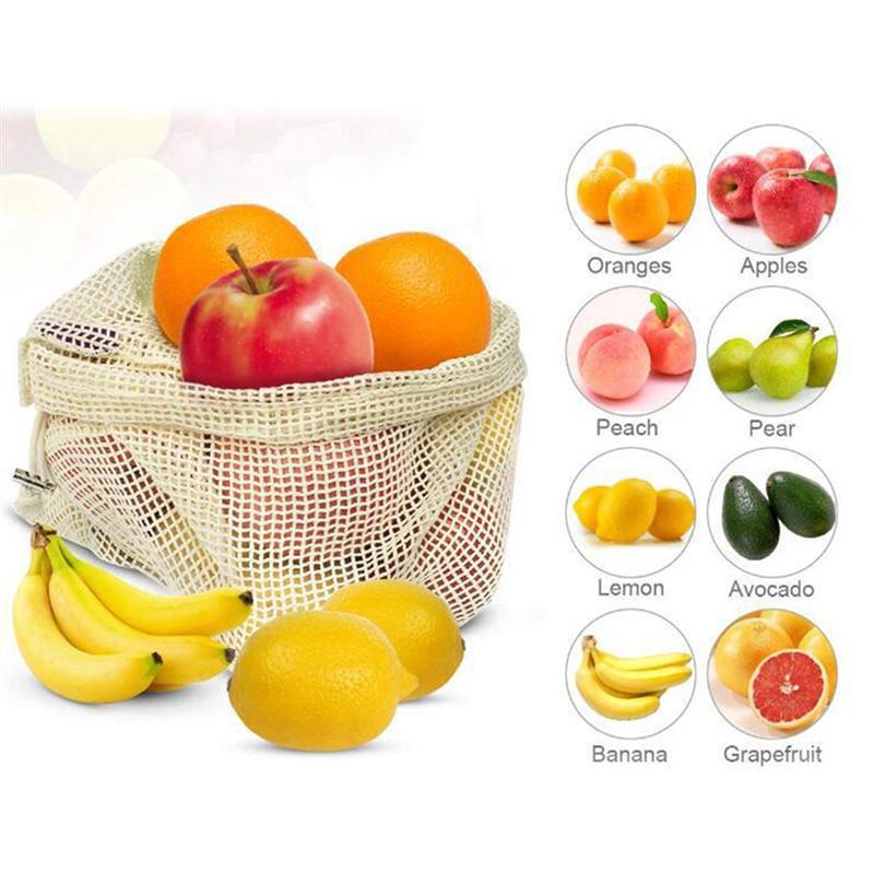 3-30 шт многоразовые производящие сетчатые мешки Хлопок Моющиеся Мешки для покупок фрукты овощи органайзер для хранения на кухне сумки S/M/L Ра...