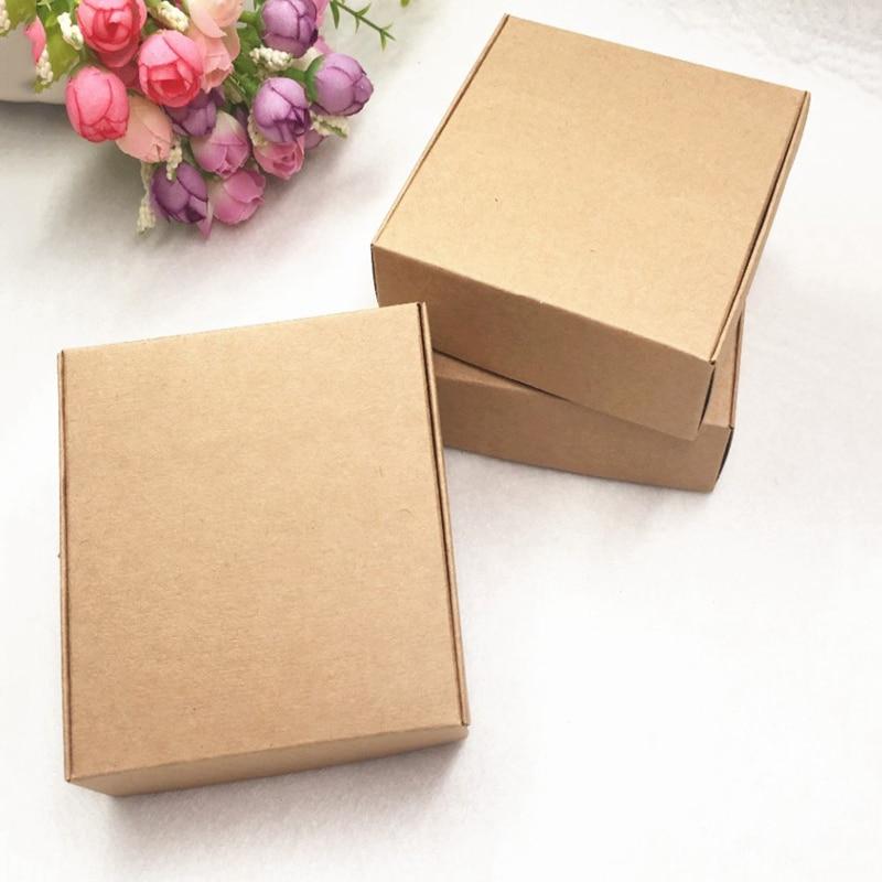 EASY-100Pcs caja de papel Kraft bonita caja de embalaje Kraft tamaño pequeño