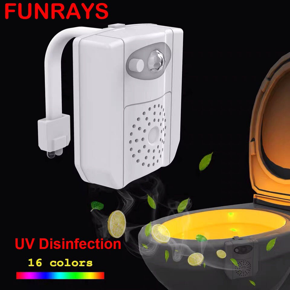 Toilet Seat Lighting Ultraviolet Disinfection Motion Sensor 16-color Night Light Aromatherapy Remove Odor Toilet Accessories