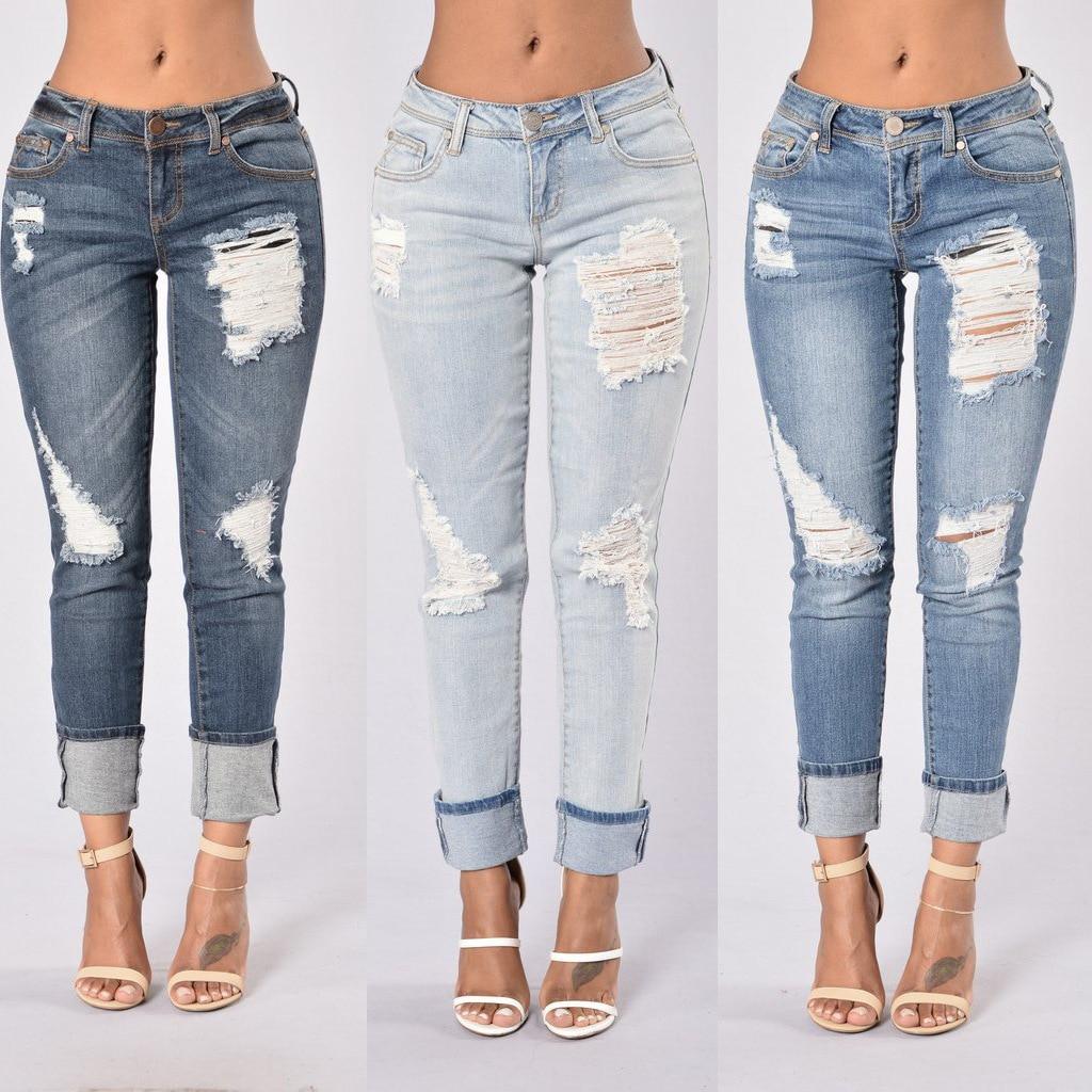 Jeans Woman Casual Sexy Skinny Jeans Woman Hole Nine Pants Hem Edge James Mujer
