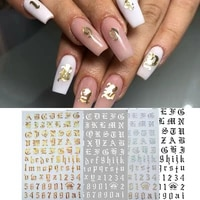 nail art 3d decal stickers alphabet letters number nail designs white black gold acrylic nails tool
