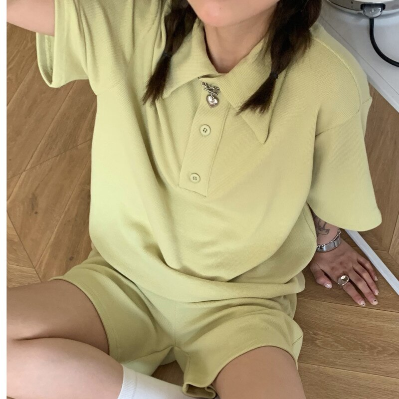 Short Suit Waffle Suit Polo Shirt + Shorts Women's Korean Version 2021 Summer New White Leisure Two