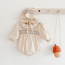 Baby Girls Bodysuits With Hat Spring Romper Baby Clothes Peter Pan Collar Infant Girls Jumpsuit