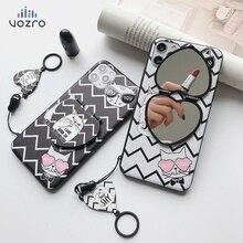 Для iphone se 2020 чехол силиконовый креативный с зеркалом телефон мультфильм кошка макияж зеркало кронштейн для iPhone 11 8 Plus X XR XS чехол