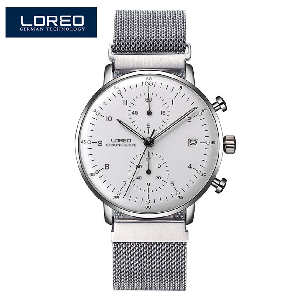 Calendário de Luxo Relógio de Quartzo dos Homens Relógio de Pulso 50m à Prova Loreo Masculino Relógios Marca Superior Dwaterproof Água 316 Aço Inoxidável Malha Cinta Negócios