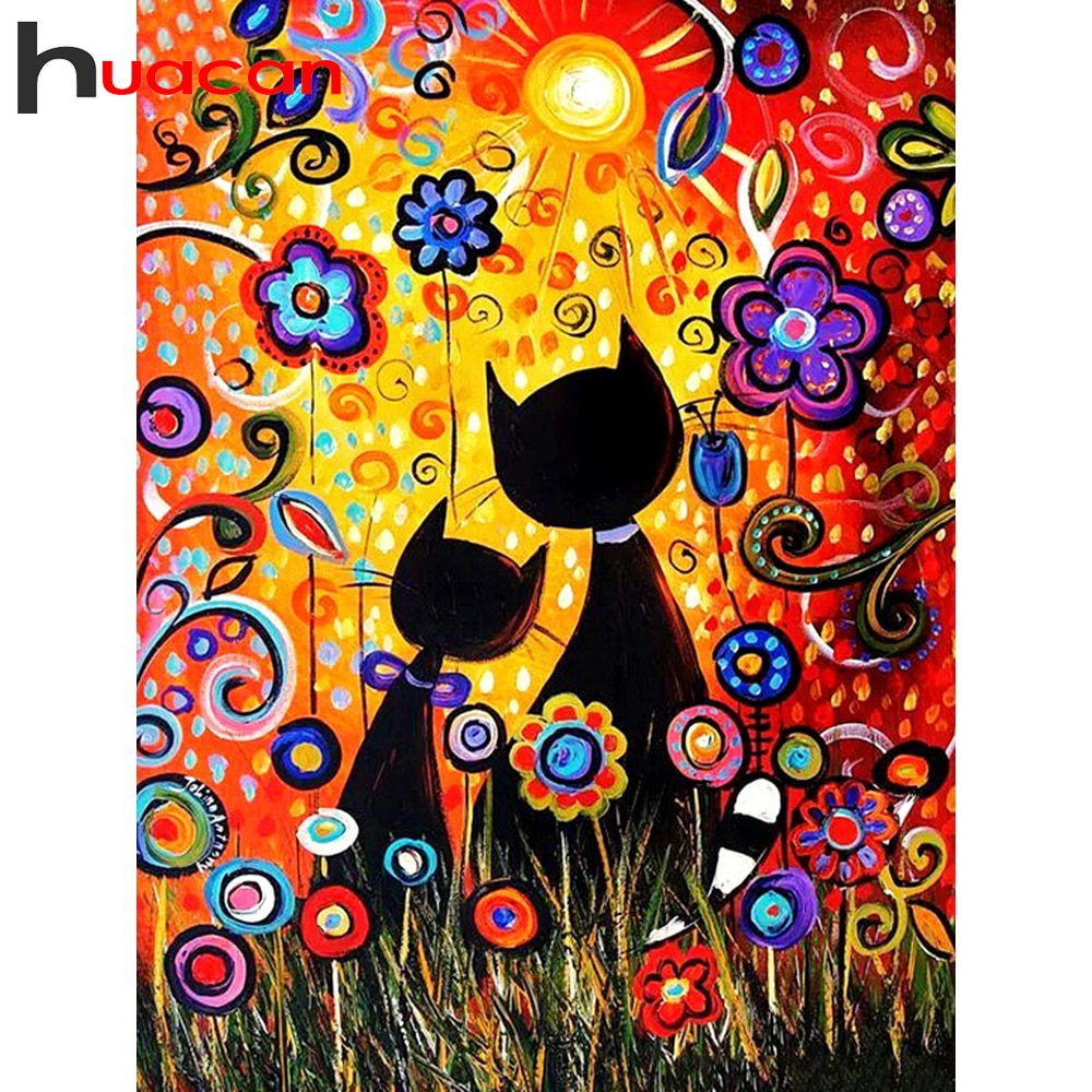 Huacan cuadrado completo/redondo gato pintado diamante arte 5D bordado de diamantes para MANUALIDADES Kits de dibujos animados decoraciones hogar