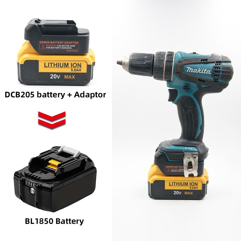 Convertidor de batería para Dewalt 20v 18v Conversión de batería a Makita 18V BL1830 BL1850 batería puede utilizar DCD205 batería en herramientas Makita