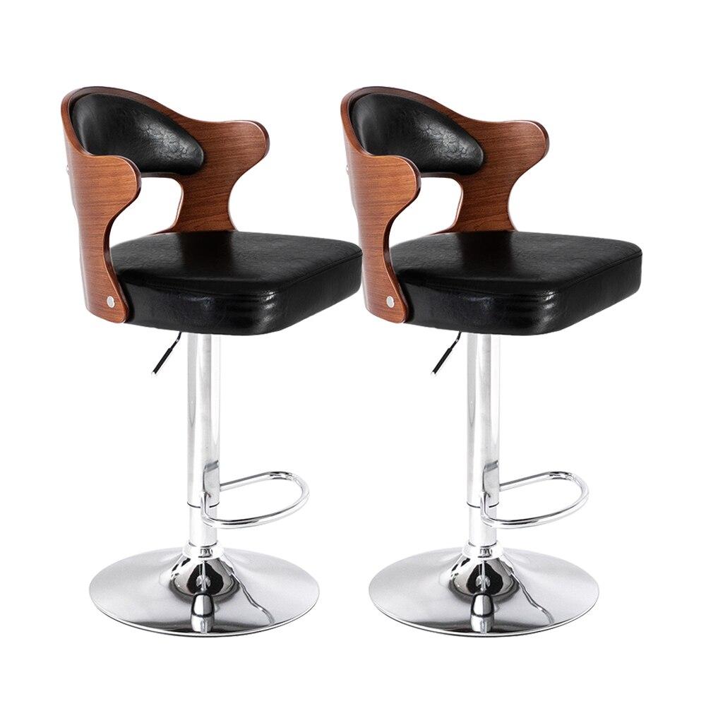 2 шт. Кофе барный стул компьютерные кресла из искусственной кожи поверхности 360 Вращение регулируемый по высоте с подлокотниками из тиковог...
