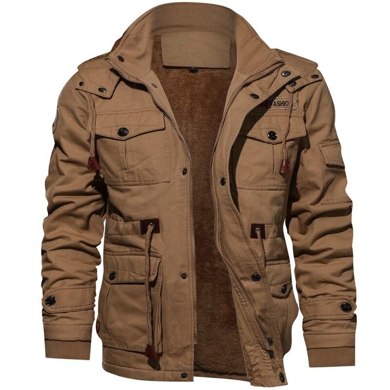 Мужская зимняя куртка в стиле милитари, повседневное плотное теплое пальто, армейская куртка, шерстяное флисовое пальто с капюшоном, одежда...