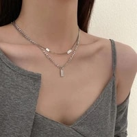 design double layer necklace for women 2021 new titanium steel ins hip hop clavicle chain light luxury accessories