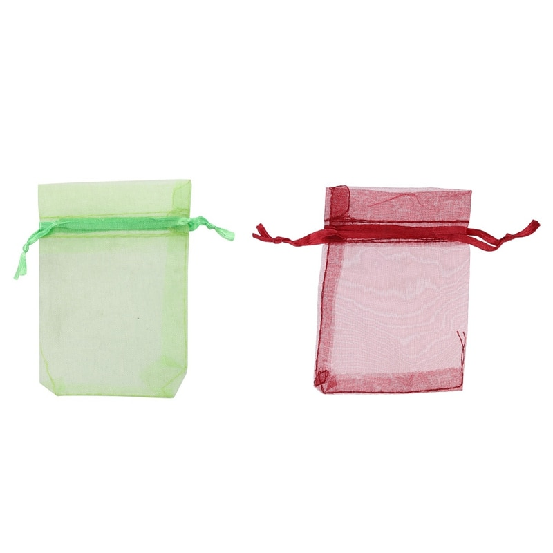 ¡Promoción! Bolsas de Organza de boda de 200 Uds bolsas de joyería verde/rojo vino