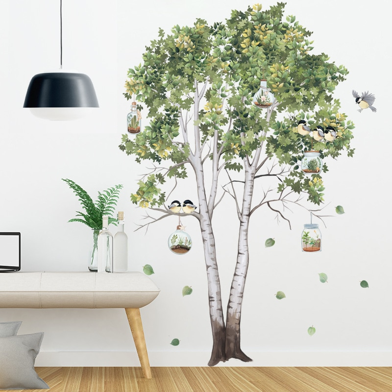 [해외] 큰 나무 자작 나무 벽 스티커 녹색 잎 벽 데칼 거실 침실 새 홈 장식 포스터 벽화 PVC 룸 장식