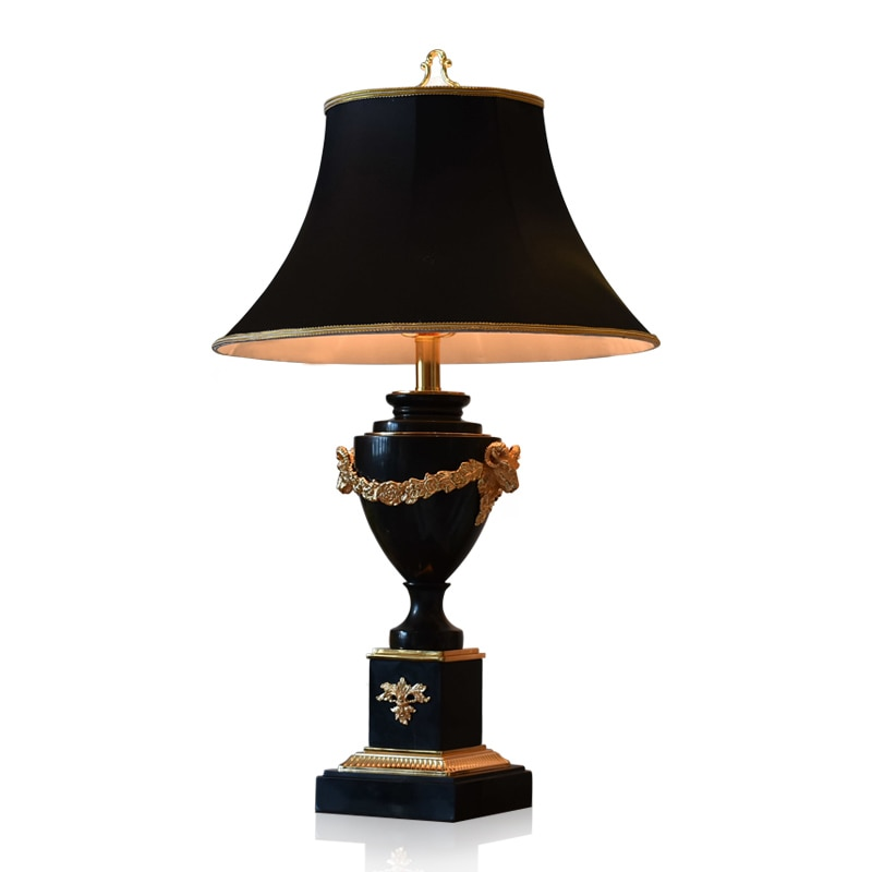 Mármore preto sala de estar candeeiro mesa luxo clube hotel hall lobby villa quarto lâmpada cabeceira wf1223206