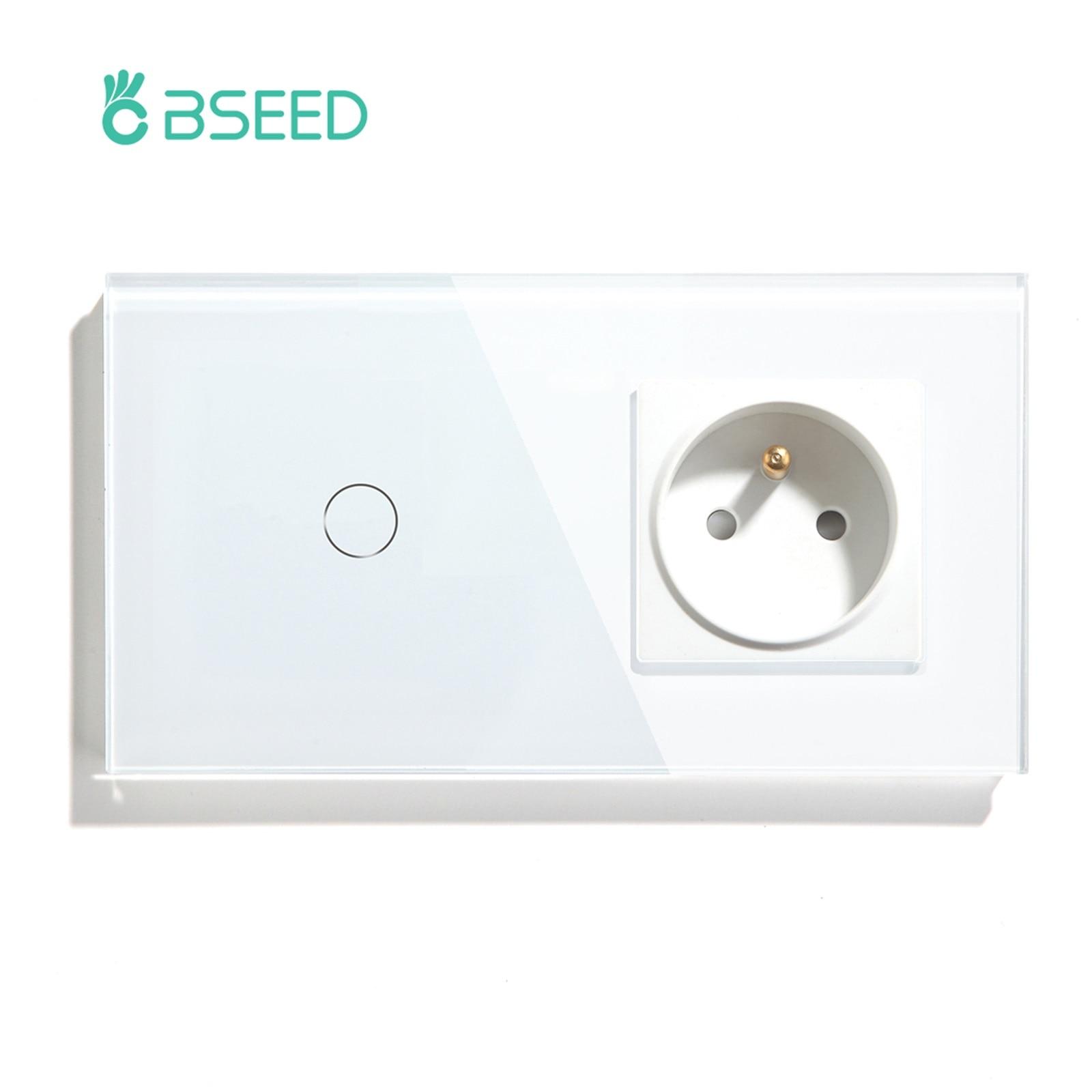 Bبالدخول مفتاح إضاءة يعمل باللمس 1 عصابة 1 طريقة مع FR مقبس الحائط أبيض أسود الذهب جدار مفتاح مستشعر الكريستال والزجاج لوحة المنزل