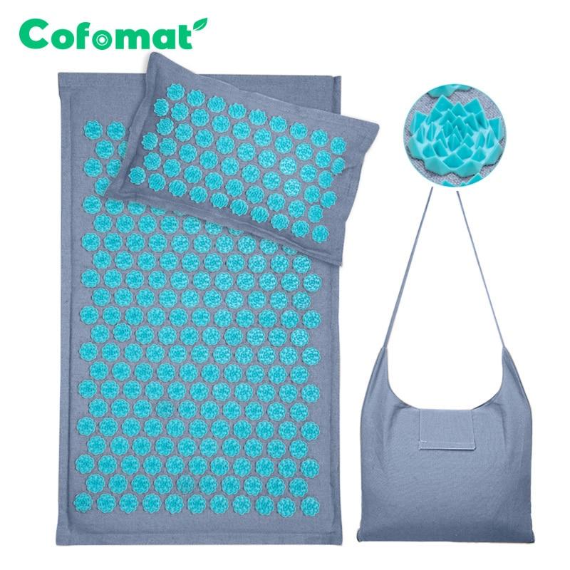 Nature Linen Coconut palm Massage Yoga mat sport pillow mat with bag Lotus Spike Acupressure Mat Cushion