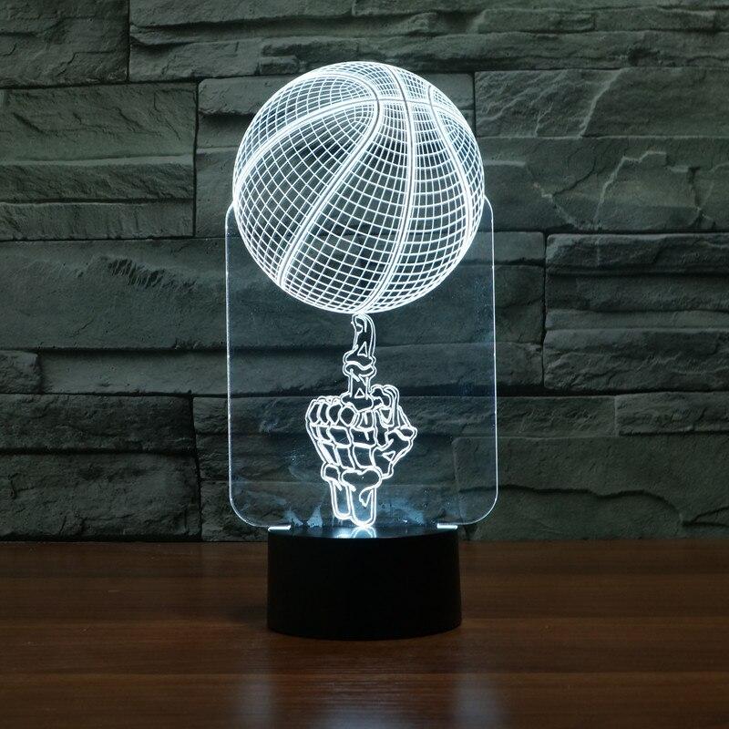 Control remoto mano superior baloncesto 3d lámpara 7 colorido táctil Led lámpara Visual atmósfera novedad Luminaria Led 3d Luz