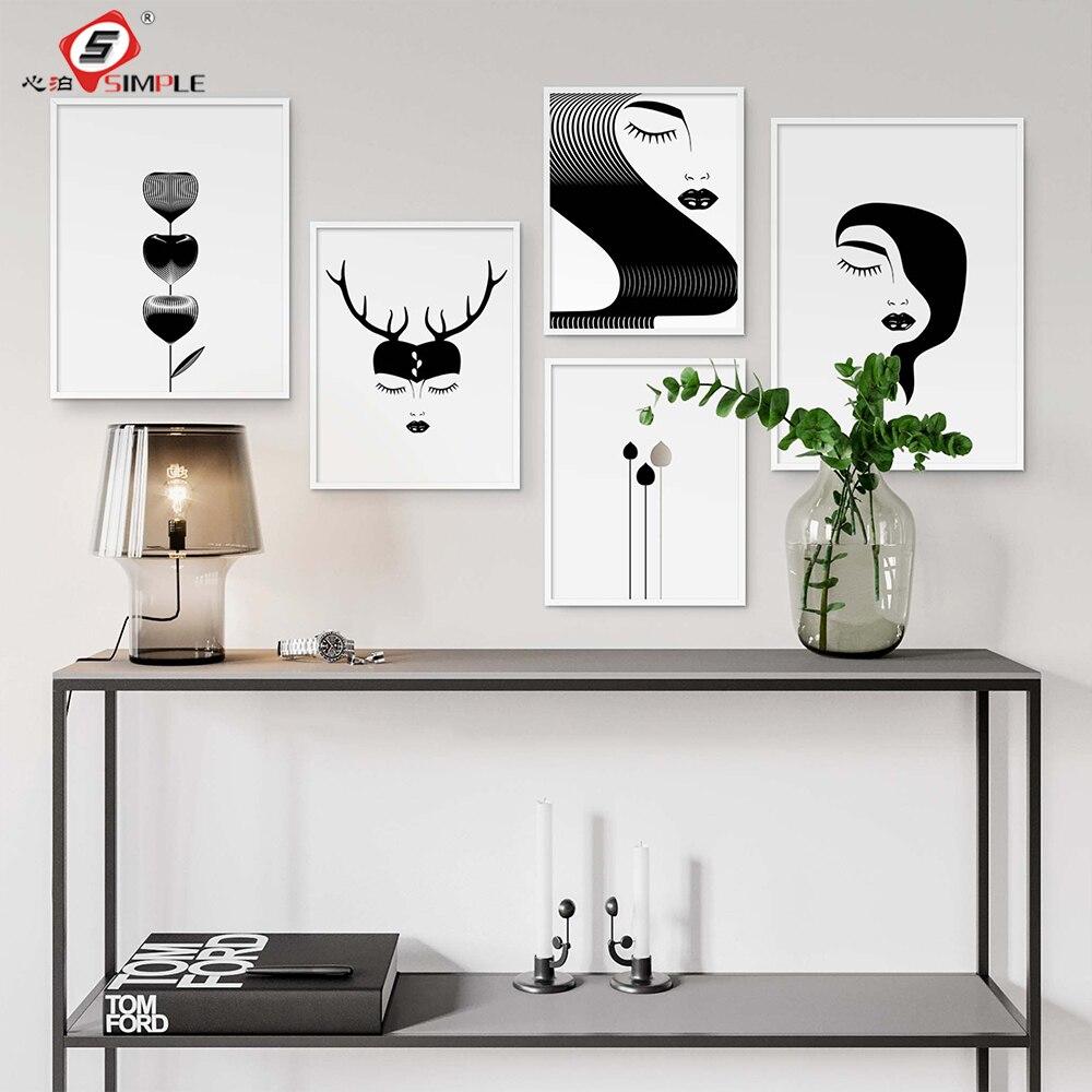 Pósteres minimalistas de arte de pared de galería en blanco y negro cuadros en lienzo impresos imágenes abstractas de cara de chica para sala de estar decoración única