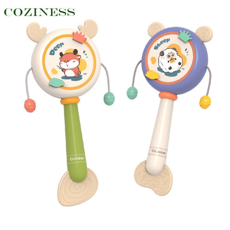Детские погремушки COZINESS, зубные прорезыватели, клей для зубов, детская игрушка, детский волнистый барабан, можно жевать, игрушки для сна, опт...