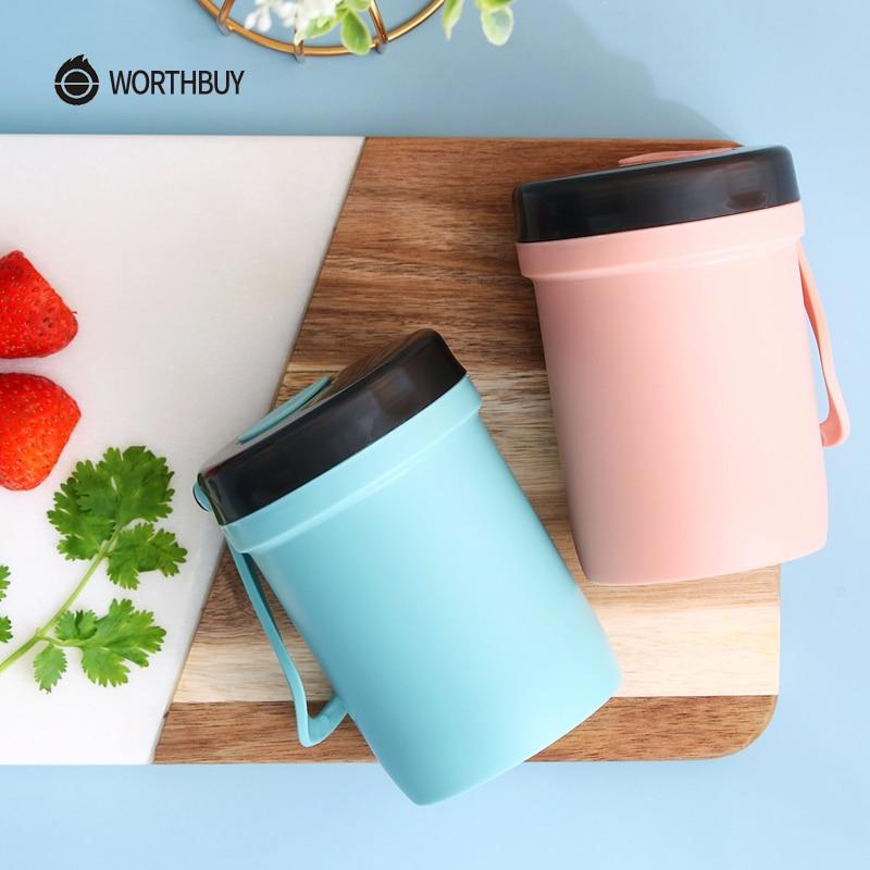 WORTHBUY Portable Travel Mug Plastic Leak-Proof Coffee Mug With Lid Kitchen Drinkware For Kids Microwave Tea Mug Water Cup