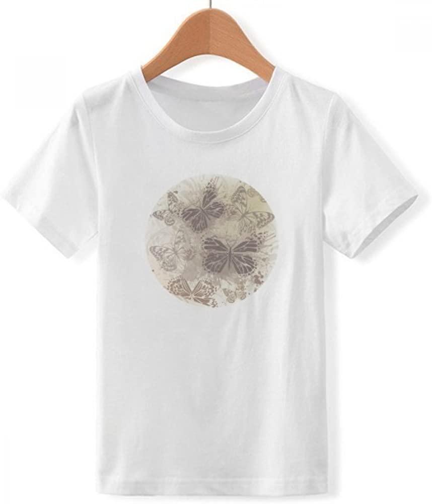 Elegante Vintage gris mariposa papel pintado cuello redondo blanco camiseta nueva verano fresco camiseta 2020 algodón transpirable Camiseta de manga corta