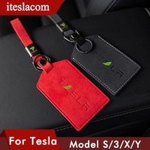 2021 Genuine Leather Car key Card Cover Case For Tesla Model 3 Y S X  Keychain Wallet Protector Hold