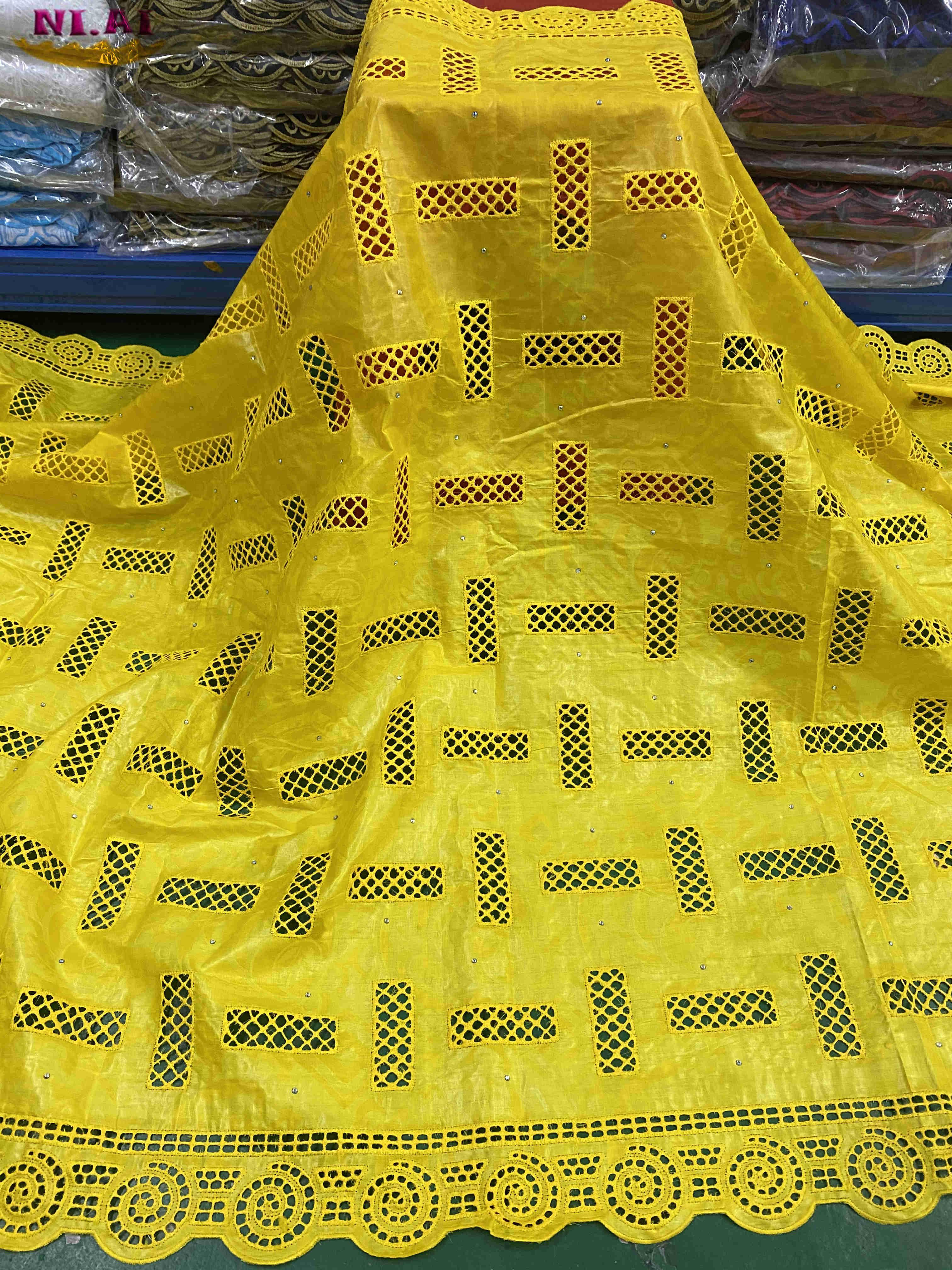 NIAI بازان الثراء Getzner النسيج الأفريقي الدانتيل النسيج 2020 عالية الجودة Brode القطن النيجيري أقمشة الدانتيل لفستان XY3348B-2
