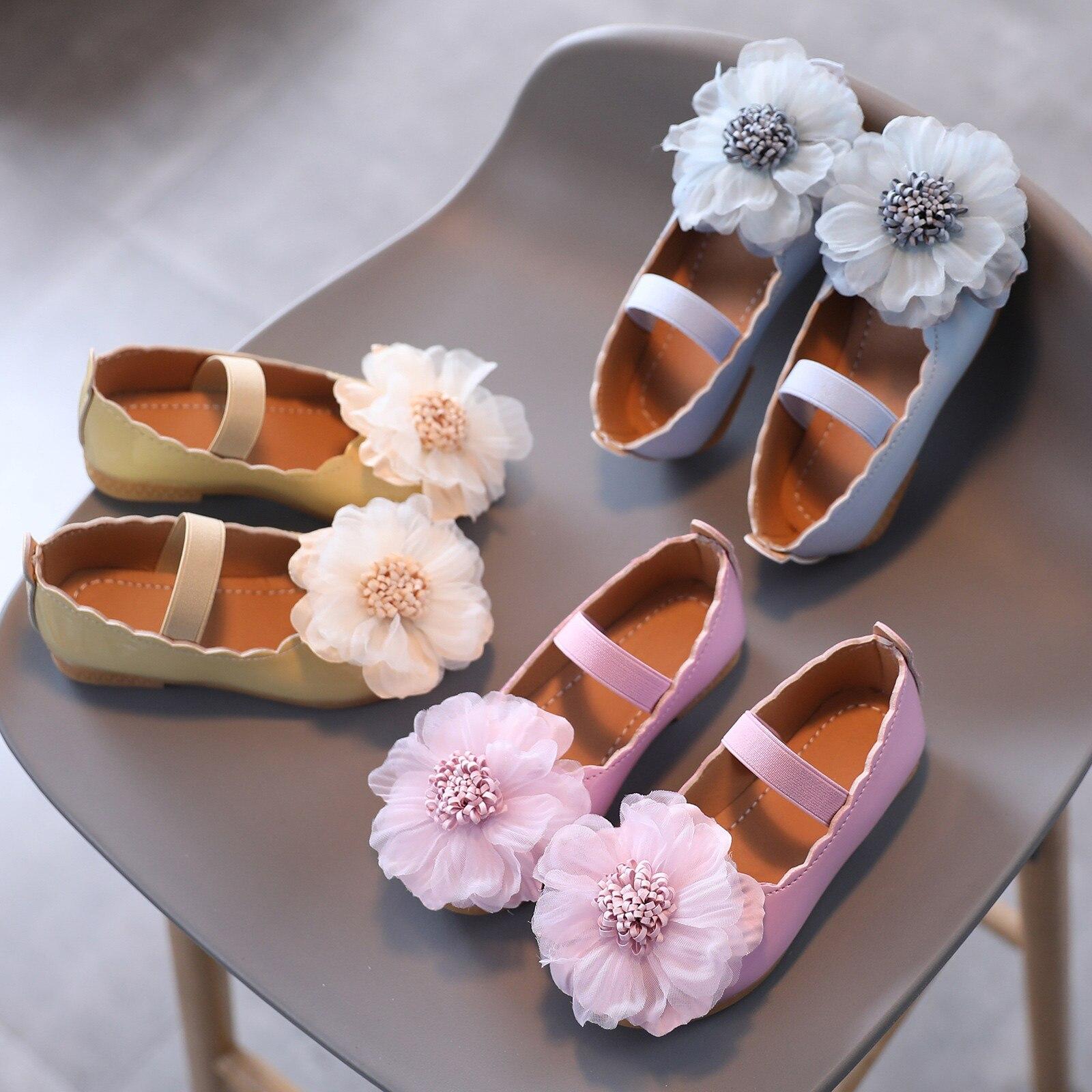 Zapatos de princesa individual con flores para niñas pequeñas, sandalias de suela...