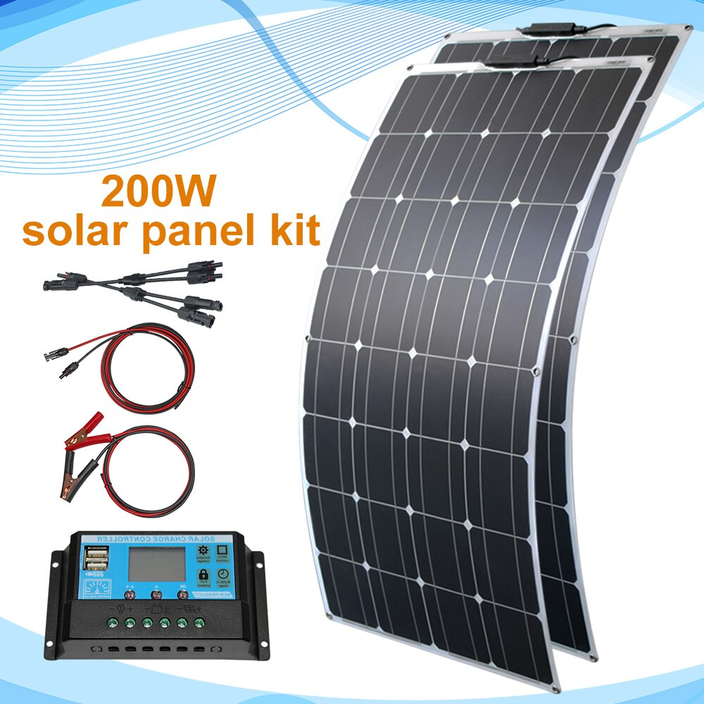 Solar Panel 300W 400W 200W 100W PET Flexible Solar Panel Monocrystalline Solar Cell For12v /24V Battery Charger 1000W Home Kits