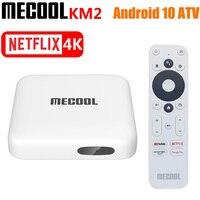 2021 MECOOL KM2 Amlogic S905X2 четырехъядерный Android 10 ТВ-бокс DDR4 2 ГБ 8 ГБ SPDIF Google Сертифицированный поддержка Netflix 4K медиаплеер
