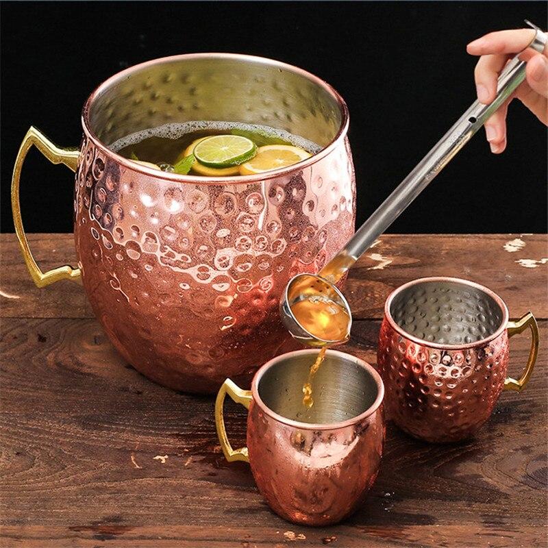 550 ml/18 unzen Kupfer überzogene Moscow Mule Becher 18/8 edelstahl Bier Tasse Kupfer Reise becher Kreative Drink kaffee & Tee Becher