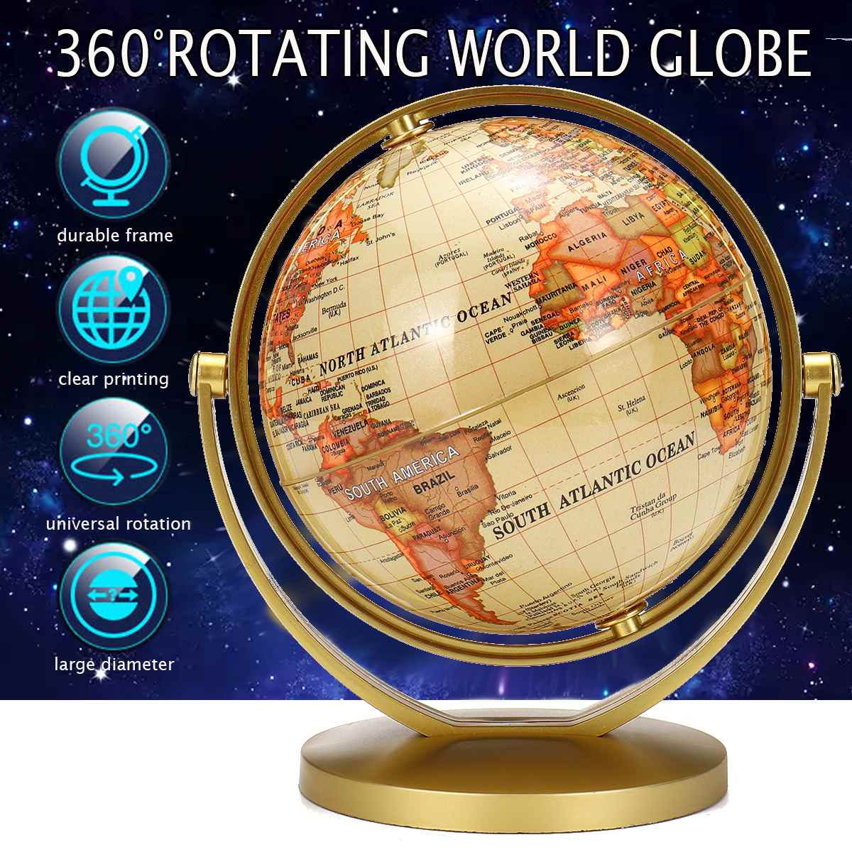 Terrestrial Earth Globe World Map With Stand Geography Education Toy Home Decoration Office Ornament Kids Gift