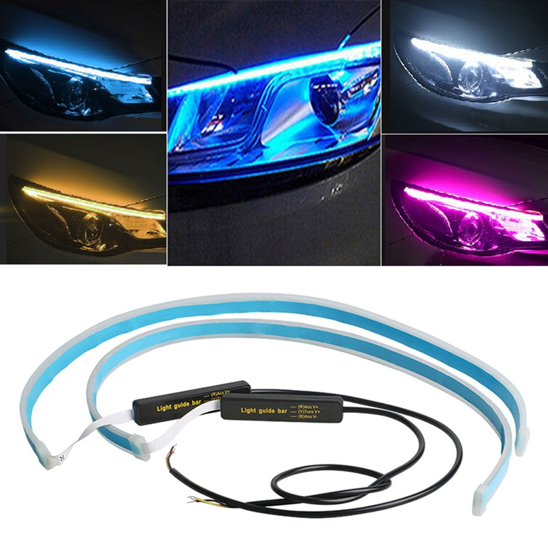 Najdrobniejsze DRL 30 45 60cm światła do jazdy dziennej elastyczna miękka rurka przewodnik taśma LED do samochodu biały kierunkowskaz do samochodów reflektor