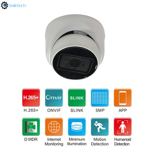Indoor HD 5MP POE ir dome Dual Light Source plastic humanoid detection mic color night vision speaker network camera