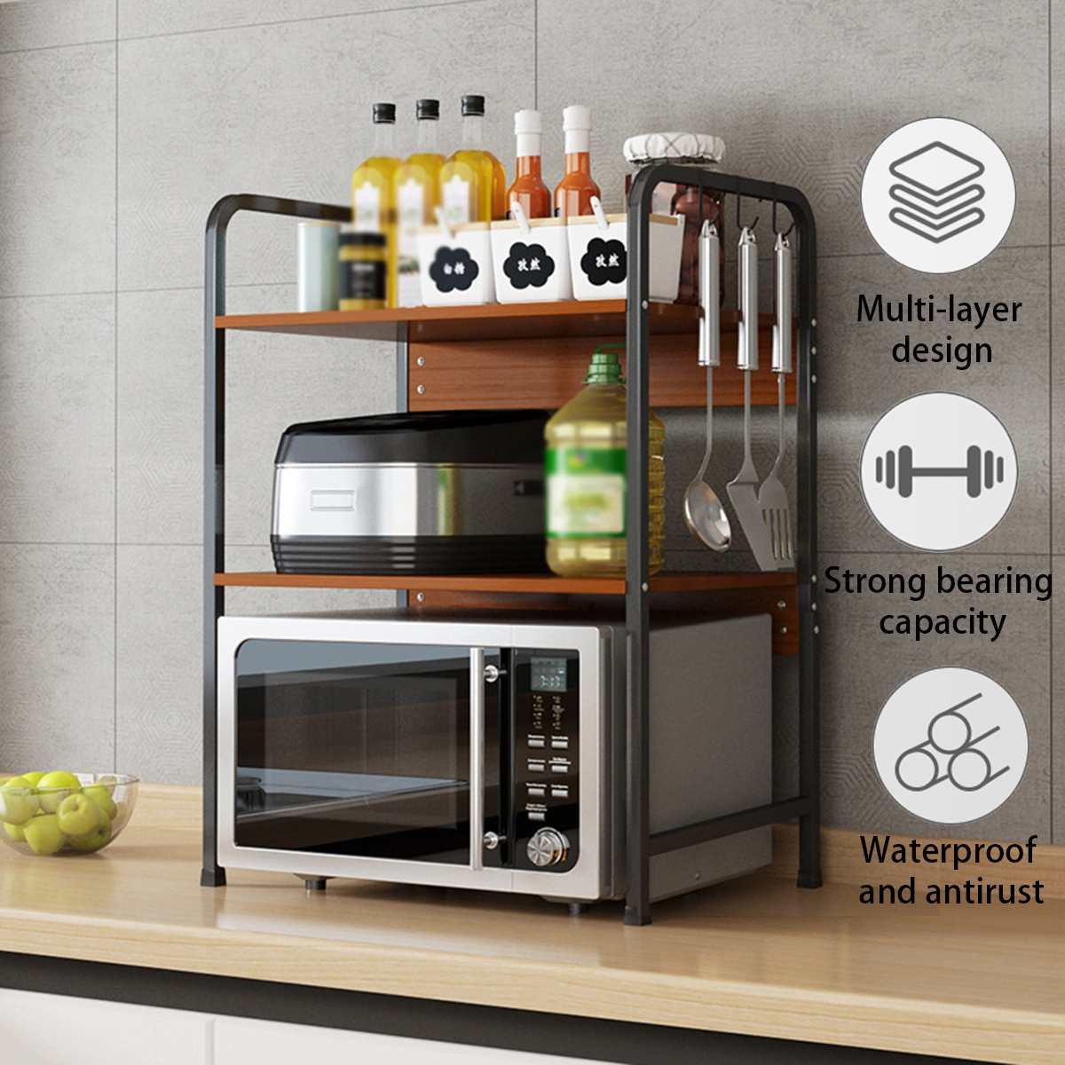 الميكروويف رف 3 طبقات Vintage خشبية معدنية المطبخ تخزين الرف أصحاب السنانير متعددة الوظائف المنظم فرن الرف الرف