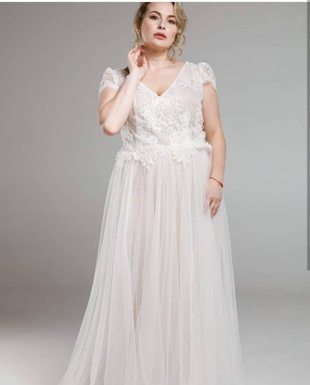 Vestido de novia con cuello en V, manga corta, encaje champán, tul,...