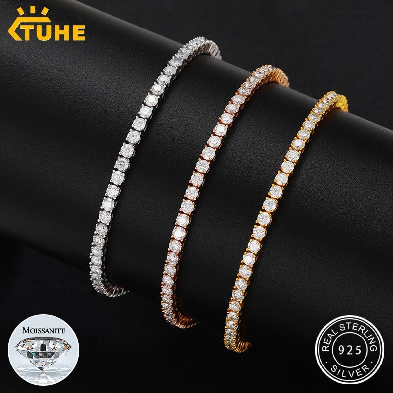 Review 2.5mm-5mm  Moissanite Tennis Chain Bracelets 925 Sterling Silver Mens/Women Hip Hop Jewelry