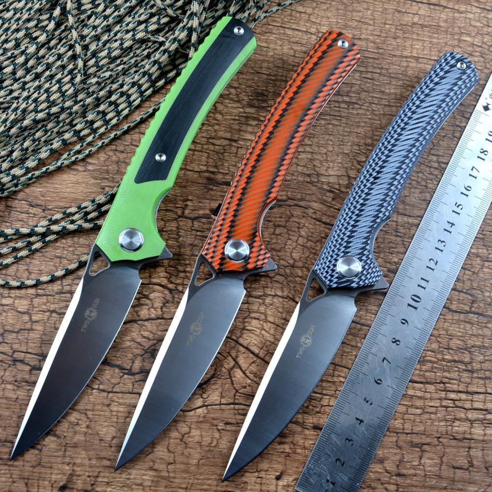 Twosun flipper rápido aberto d2 lâmina de cetim g10 lidar com caça bolso ao ar livre facas dobráveis ts81 cerâmica rolamento esferas